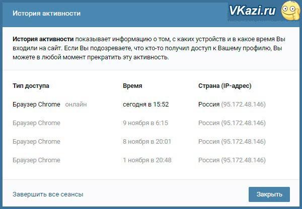 история активности на странице ВКонтакте